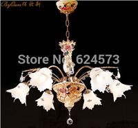Ceramic Art Chandelier European luxury living room lamps Crystal lamp lighting study bedroom Chandelier free shipping