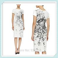 [NWT] Luxury Women Floral Pique Sheath Dress Round Neckline Short Sleeve Party Dresses Free Shipping PLUS SIZE DRESS XXL