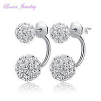 new genuine TST 925 sterling silver BaLa CZ diamond dual-use Princess stud earrings fashion classic