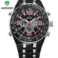 WEIDE military watches men luxury watch 30m waterproof silicone strap wristwatch digital analog Japan movement relogio masculino