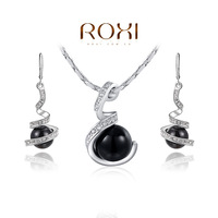 2015 Newest jewelry sets pearl earrings and necklaces bridal jewelry sets crystal rose gold plated jewelry crystal jewelrys set