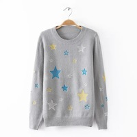 2015 Autumn Winter Women Knitted Sweater Five-Stars Embroidery Pullovers Long Sleeve Round Neck Tops Women Knitwear  BO8040