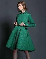 New Arrival 2014 Autumn winter fashion designer elegant Classic Argyle long expansion bottom winter cotton-padded#Y141219
