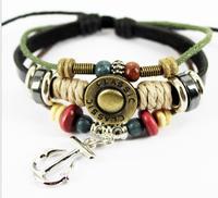 OMH wholesale Black jewelry hanging drop anchor alloy cattlehide accessory bracelet SZ47
