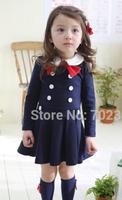 shipping College spring 2015 new style girls dress children long-sleeved dress lapel children clothing H-Dec20