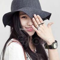 Women Vintage Soft Wide Brim Wool Felt Hat Ladies Floppy Bowler Cap Special Gray