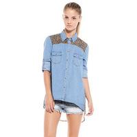 Free shipping spring new European style fashion denim stitching leopard shirt