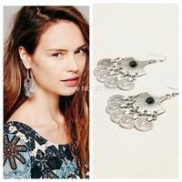 2015 Hot fashion product, Vintage Bohemian earrings, Vintage silver drop earrings, Zamac earring  FREE SHIPPING