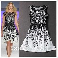 2015 Women Sexy Lace Floral Crochet Print Dresses Celebrity Patchwork Club Party Vestidos Plus Size Estampado De Renda HBQ026