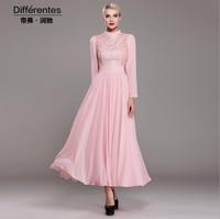 2015 New fashion chiffon lace dress women's stand collar elegant long sleeve pink dress plus size princess dress