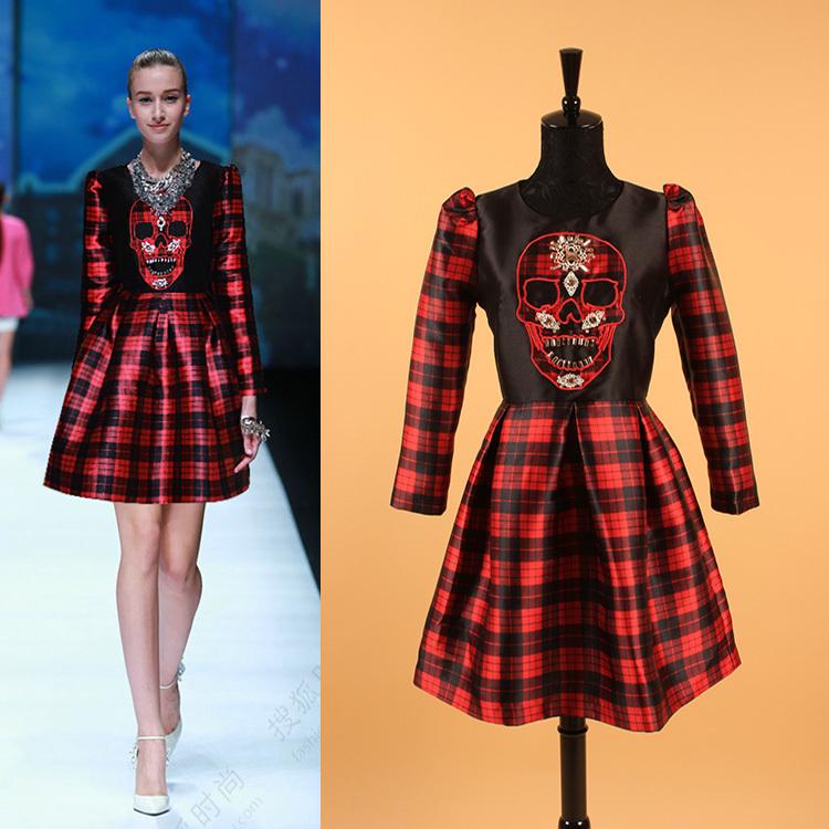 2015 Spring High Street Fashion Plaid Beading 100% Polyster Skull Full Sleeve & Above Knee Slim Women Dress(China (Mainland))