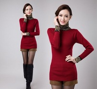 2014 Spring New Fashion Sweater Women Casual Slim Multicolors Turtleneck Long Sweaters Pullover Tricotado