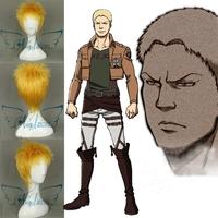 Angelaicos Reiner Braun Attack On Titan Boy Short Golden Halloween Costume Cosplay Full Wig