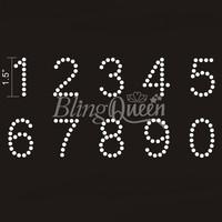 50PCS/LOT Custom Hot Fix Iron On Rhinestone Number Design