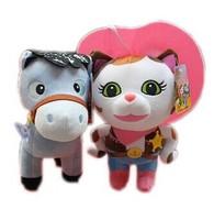 2pcs Boneca Sheriff Callie's Wild West Plush Dolls Sheriff Callie Cat Horse Stuffed Toys Birthday gift for Children Kids Baby
