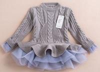 EMS DHL Free shipping kids girls turtleneck sweater Lace dress,Princess fashion sweater,baby girl cardigan,girls sweater dress