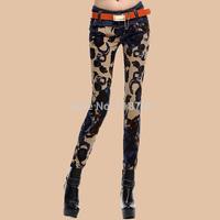 New winter flower pants Korean women were thin jeans pants feet pencil pants female