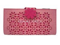 GREAT BULK PRICE Women Pink Clutch Wallets Multi Case Felt Purse Flower Pattern