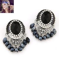 2014 European and American fashion gorgeous Baroque gem earrings tassel temperament metal studs / black earings/jewelry earings