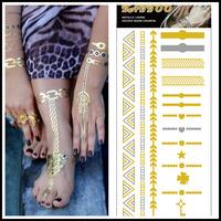 DIY Choker Necklace Bracelet Gold Metal Tattoo Flash Inspired Temporary Tattoo Jewelry 5 pcs/lot Tattoo Body Fake