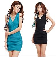 Summer deep v-neck fashion dress the nightclub low bosom big yards temperament package buttocks tight dress sexy dress