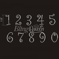 50PCS/LOT Custom Hot Fix Iron On Rhinestone Bling Transfers Number Design