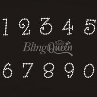 50PCS/LOT Custom Bling Rhinestone Iron On Transfers Number Design