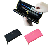 Donbook Fashion Solid Zipper PU Leather Long Womens Designer Purse with Bowknot Ladies Lovely Wallet
