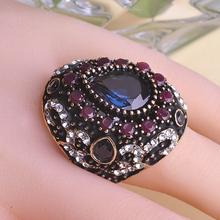 Turkish Sapphire Vintage Fine Jewelry Anel Rings Anillo Turco Anies Femininos Rhinestone Salomon True Religious Men Meus Pedidos