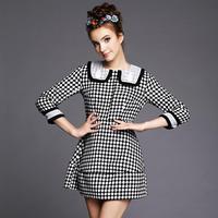S-5XL Brand Ladies Black White Plaid 3/4 Sleeve Woolen Casual Dresses 2015 Spring Autumn Fashion Women Large Size XXXXXL