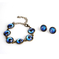 Free Shipping New Fashion 14mm  Round  Ancient House Bronze  Earring Starry Sky  Bracelets Jewelry Set #60404
