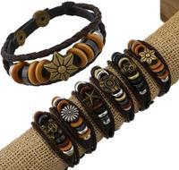OMH wholesale mix jewelry leather alloy beaded both men and women bracelet SZ70