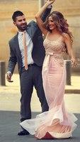 VK Scoop Neckline Pearls 2015 Long Coral Evening Dresses with Belt/Sash