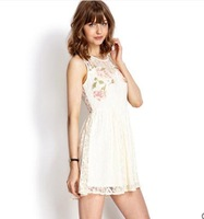 Printing new sweet lace sleeveless lace dress hollow back