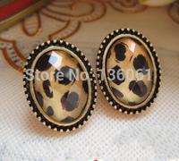2015 New  Fashion Trendy Elliptic Leopard  Charm Statement Bronze Stud Earrings Accessories Jewelry For Women X668