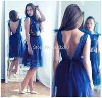 A line Knee Length Sheer Scoop Navy Blue Formal Evening Dresses 2014 Fashionable Vestidos de fiesta 2015 Vestido de renda