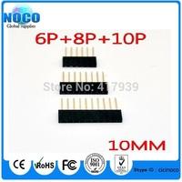 60PCS 2.54MM 6Pin 8Pin 10Pin 10MM Long Needle Female Pin Header Strip Stackable Header for arduino