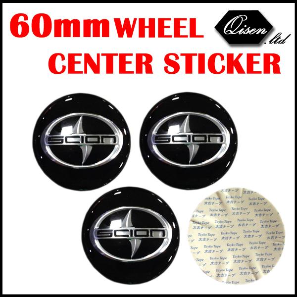 20 X 60MM RESIN CAR WHEEL CENTER CAP BADGE COVER EMBLEM STICKER BLACK SILVER FOR SCION REIZ CAROLA CROWN CAMERY #CZX11(China (Mainland))