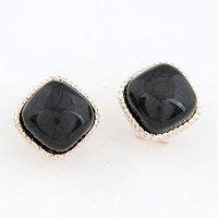 European and American fashion personality temperament dimensional square stud earrings/ear buckle black earrings/jewelry earings