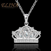High Quality Costume Jewelry Crown Arrows Carat Swiss Zircon Micro Inlay Pendant Necklace for women Love