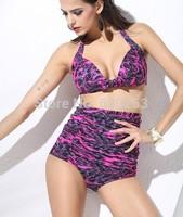women blue  Bandeau Top & Floral Print Semi High Waist Bikini plus siez xxxl bikini swimwear swimsuit