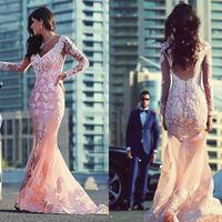 Vintage Appliqued Mermaid Pink Evening Gowns Long Sleeve Backless Brazil RU Arabia