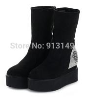 Diamante women fashion autumn winter slip on mid-calf boots round toe wedge black martin boots size 39 free shipping