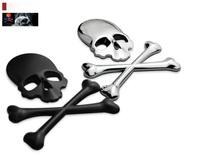 2015 Hot Sale Car Styling 3D Car Stickers Black Gold Silver Skull Car Emblem For SUV
