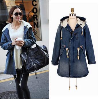 6486bd467ebd 2015 new washed denim jacket womens autumn winter coat long jeans coat  hooded female denim lambs wool liner coats W244