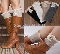 Women's Winter Lace Leg Warmers Fashion Gaiters Boot Cuffs Socks Women Warm Black White 5 pairs JT006
