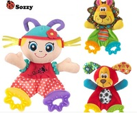 Free shipping new 2014 baby toy sozzy newest cute animal colorful placate towel with teether sound paper developmental toys