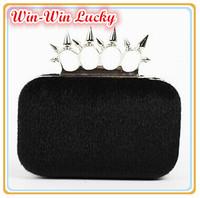 2015 New Fashion Women Fake Fur Handbags. Soft Plush Party Rivet Ring Finger Clutch. Female Wedding Banquet Evening Bag
