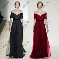 Tulle Optional Belt Off The SHoulder Runway Gown Half Sleeve Celebrity Dress Ruched Bodice Floor Length A Line Red Carpet Gowns