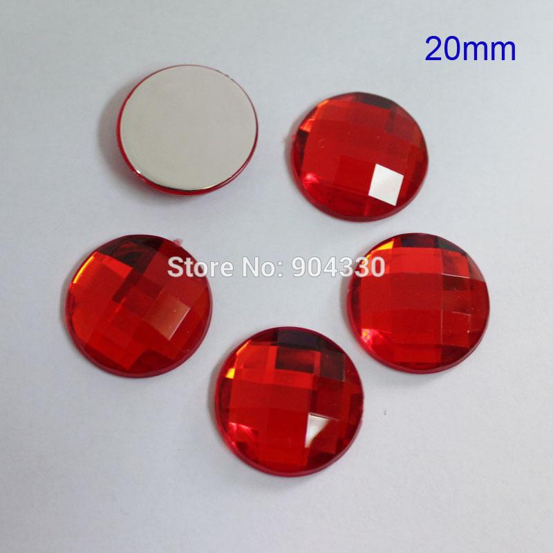 Livraison gratuite! 100 pcs rouge 20 MM Flatback strass facettes carrées acrylique diamant album DIYCraft bijoux accessoire de vêtement(China (Mainland))